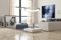 Living room interior with a herringbone floor